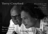 NZ music legends Jonathan Crayford and father Terry to play a repertoire of music on two concert grand pianos